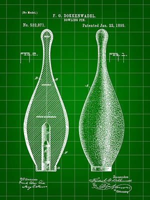 Bowling Pin Patent 1895 - Green Print by Stephen Younts