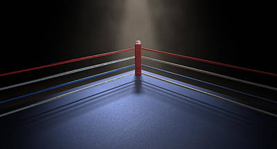 Fight Digital Art - Boxing Corner Spotlit Dark by Allan Swart