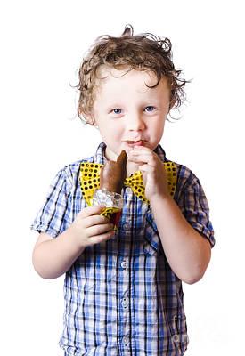 Boy Eating Easter Egg Art Print