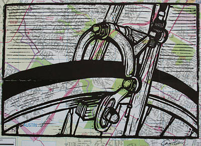 Brake On Map Art Print by William Cauthern