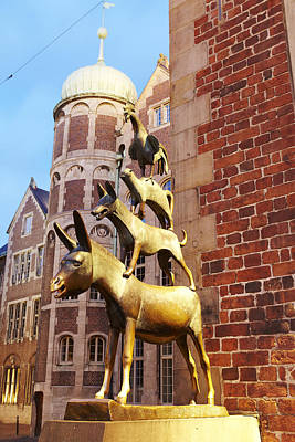 Bremen - The Town Musicians Of Bremen In The Evening Print by Olaf Schulz