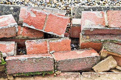 Rubble Photograph - Bricks by Tom Gowanlock