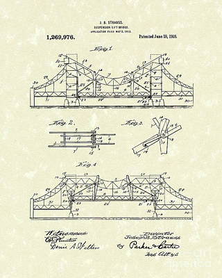 Bridge 1918 Patent Art Art Print