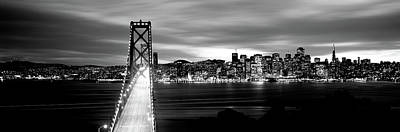 Bridge Lit Up At Dusk, Bay Bridge, San Art Print