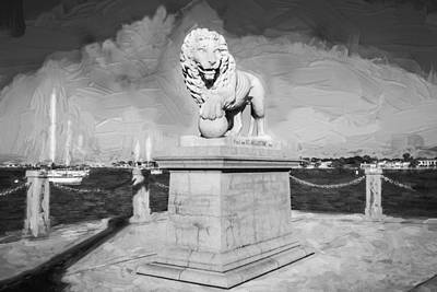 Florida Bridge Photograph - Bridge Of Lions St Augustine Florida Painted Bw  by Rich Franco