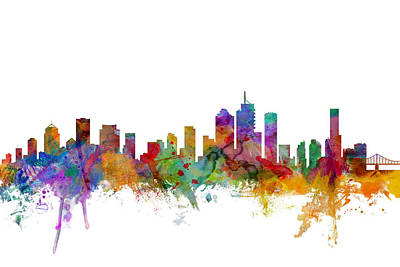 Silhouette Digital Art - Brisbane Australia Skyline by Michael Tompsett
