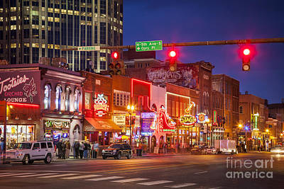 Nighttime Photograph - Broadway Street Nashville by Brian Jannsen
