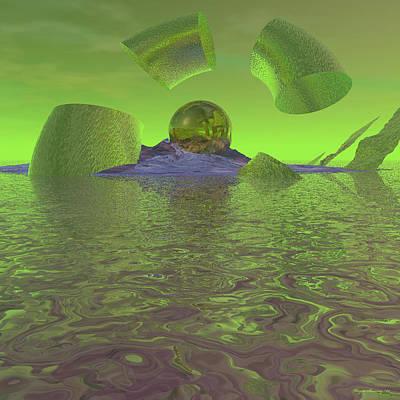 Spacescape Digital Art - Broken Planet by Wayne Bonney