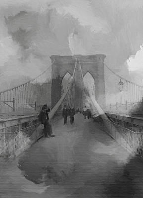 Nyc Mixed Media - Brooklyn Bridge by Steve K