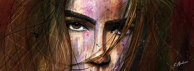 Girl Face Drawing - Brown Iris Entangled by Gary Bodnar
