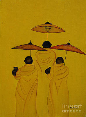 Painting - Buddha Monks by Rekha Artz