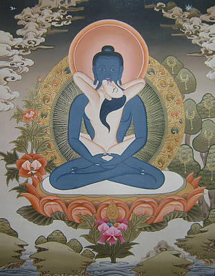 Buddhist Painting - Buddha Shakti Thangka Painting by Ts