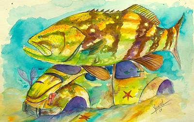 Brown Trout Painting - 2 Buggies  by Yusniel Santos