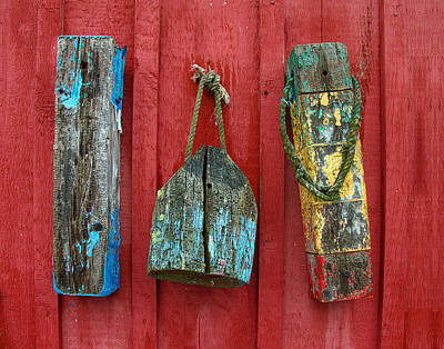Photograph - Buoys At Rockport Motif Number One Lobster Shack Maritime by Jon Holiday