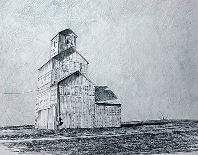 Farm Scenes Drawing - Burns Elevator by Steve Cost