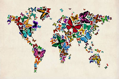 Cartography Digital Art - Butterflies Map Of The World by Michael Tompsett