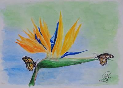 Strelitzia Painting - 2 Butterflies On A Bird Of Paradise by Kerstin Berthold