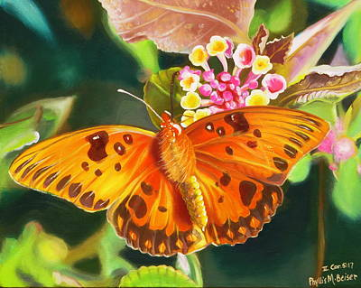 Art Print featuring the painting Butterfly And Lantana by Phyllis Beiser