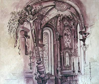 Painting - C01  Tobadil Church  Austria by Les Melton
