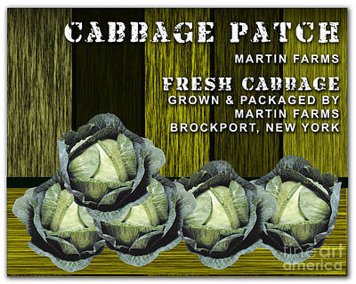 Vegetables Mixed Media - Cabbage Farm by Marvin Blaine