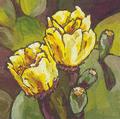 Prickly Pear Painting - Cactus Blooms by Sandy Tracey