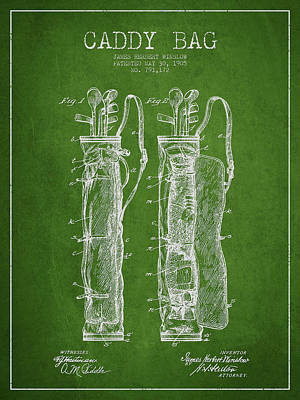 Caddy Bag Patent Drawing From 1905 Print by Aged Pixel