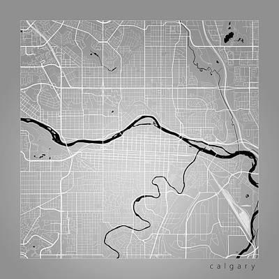 Calgary Digital Art - Calgary Street Map - Calgary Canada Road Map Art On Color by Jurq Studio
