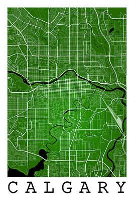 City Digital Art - Calgary Street Map - Calgary Canada Road Map Art On Colored Back by Jurq Studio