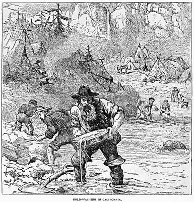 1850s Painting - California Gold Miners by Granger