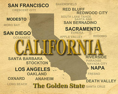 Stockton Digital Art - California State Pride Map Silhouette  by Keith Webber Jr