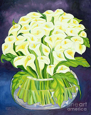 Of Flowers Painting - Calla Lilies by Laila Shawa