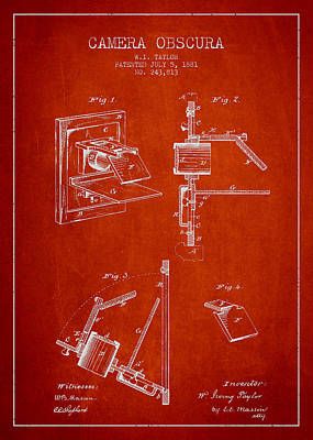 Vintage Camera Digital Art - Camera Obscura Patent Drawing From 1881 by Aged Pixel