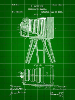 Nikon Digital Art - Camera Patent 1885 - Green by Stephen Younts