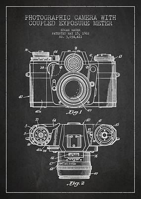 Vintage Camera Wall Art - Digital Art - Camera Patent Drawing From 1962 by Aged Pixel