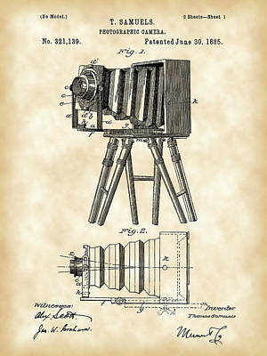 Nikon Digital Art - Camera Patent 1885 - Vintage by Stephen Younts