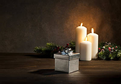 Pine Cones Photograph - Candles Present In Christmas Setting by Ulrich Schade