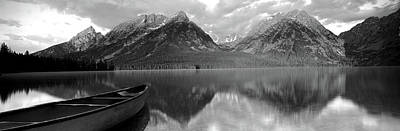 Trees And Lake Photograph - Canoe Leigh Lake Grand Teton National by Panoramic Images