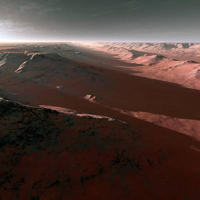 Outer Space Photograph - Canyons On Mars by Detlev Van Ravenswaay