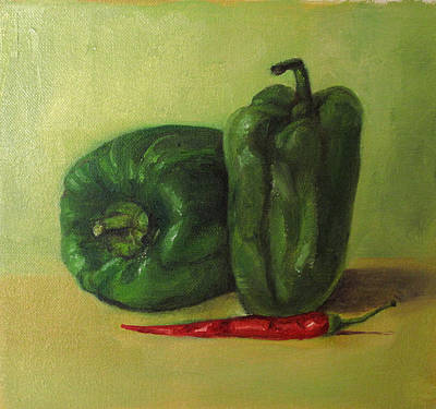 Painting - Capsicum And Red Chilli by Asha Sudhaker Shenoy
