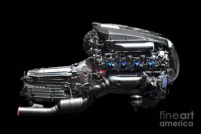 Photograph - Car Engine Chrome by Radoslav Nedelchev