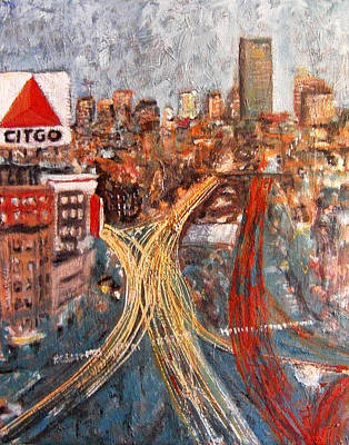 City Scape Painting - Car Lights by Romina Diaz-Brarda