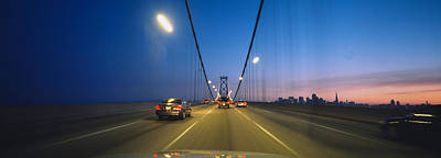 Bay Bridge Photograph - Cars On A Suspension Bridge, Bay by Panoramic Images