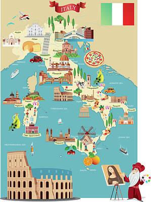 Cartoon Map Of Italy Art Print by Drmakkoy