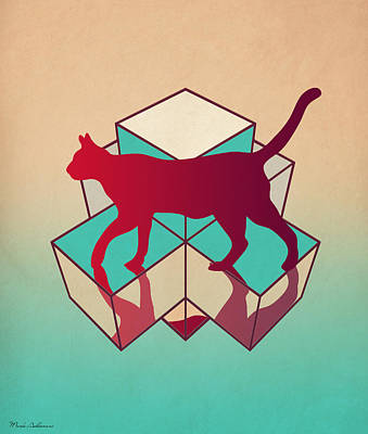 Geometric Digital Art - cat by Mark Ashkenazi