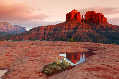 Cathedral Rock Reflection Art Print by Alexey Stiop