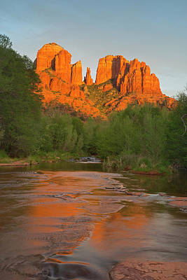 Cathedral Rocks Reflect Into Oak Creek Art Print by Chuck Haney