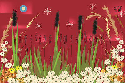 Art Print featuring the digital art Cattails by Kim Prowse