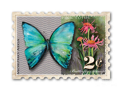 2 Cent Butterfly Stamp Art Print by Amy Kirkpatrick