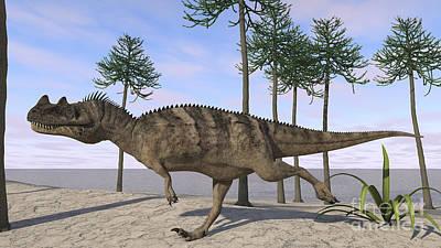 Thomas Kinkade Royalty Free Images - Ceratosaurus Hunting For Its Next Meal Royalty-Free Image by Kostyantyn Ivanyshen