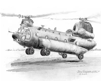 Ch 47 Chinook Helicopter Original by Jim Hubbard
